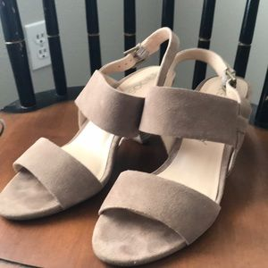 Sole society taupe suede cone heels